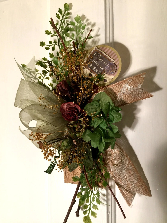 Small Floral Arrangement Wall Decor Birch Wood Burlap on Decorative Wall Sconces For Flowers Arrangements id=27875