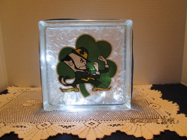 Notre Dame Fighting Irish frosted glass block by ...