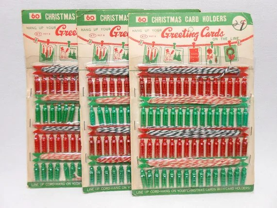 Vintage Christmas Card Holders Clothes Line Colored Cord With