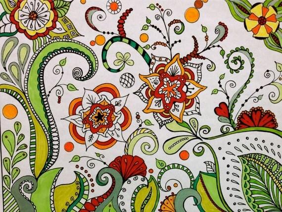 Fiore Da Colorare Stampabili Zentangle Ispirato Download