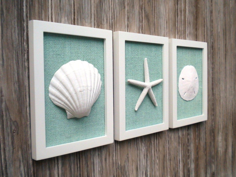 Cottage Chic Set Of Beach Wall Art Sea Shells Home Decor