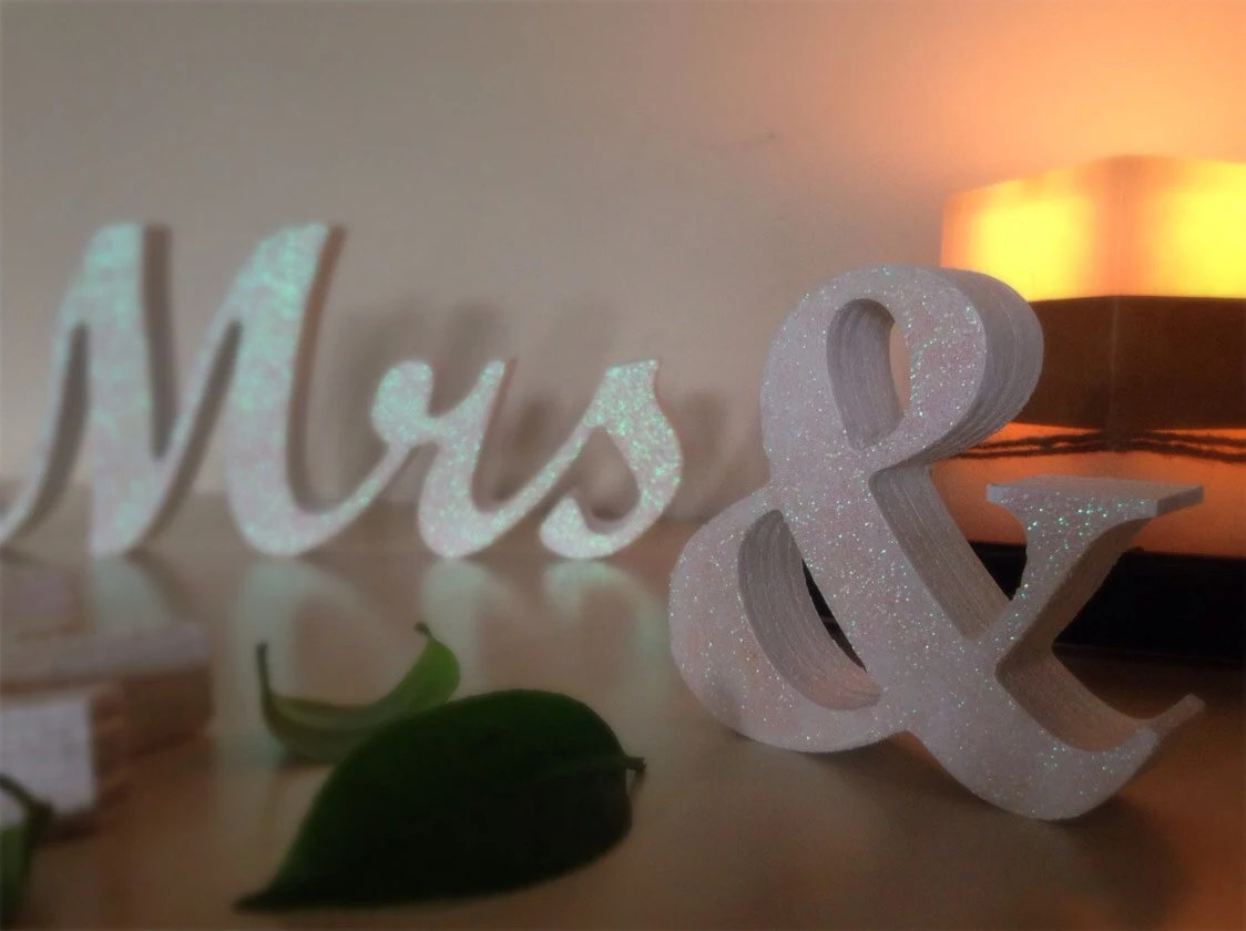 White Gold Silver Blue Red Glitter Mr & Mrs Wedding By SunFla