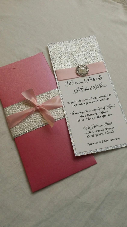 Wedding Invite Paper: Glitter Wedding Invitation, Embossed Pebble Paper Wedding