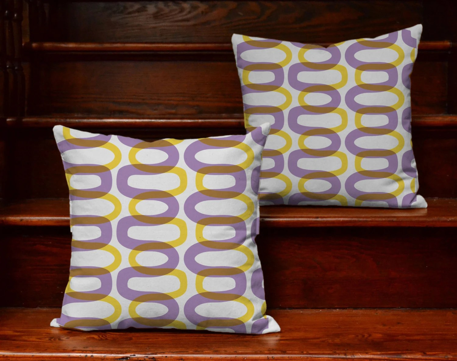 Set Of 2 Purple And Yellow Geometric Design Pillows By
