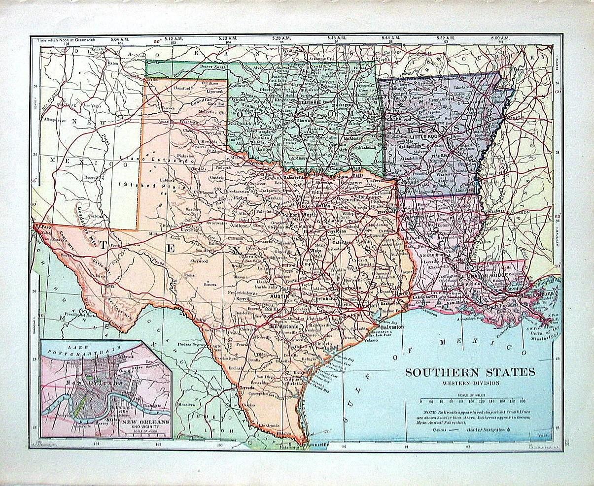 Map Of Texas And Oklahoma.Texas Oklahoma Louisiana Arkansas Map