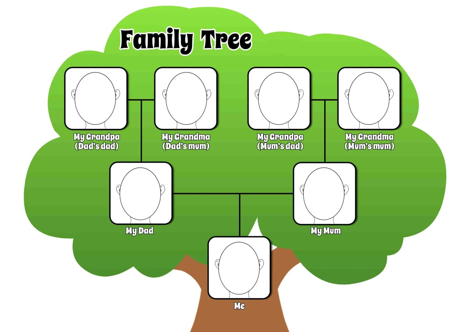 Printable Family Tree Page To Complement By