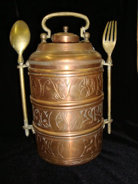 Antique Turkish Ottoman Lunch BoxTiffin Copper And Brass
