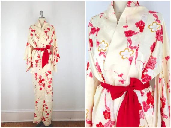 Vintage Kimono / Silk Kimono Robe / Dressing Gown / Long Robe