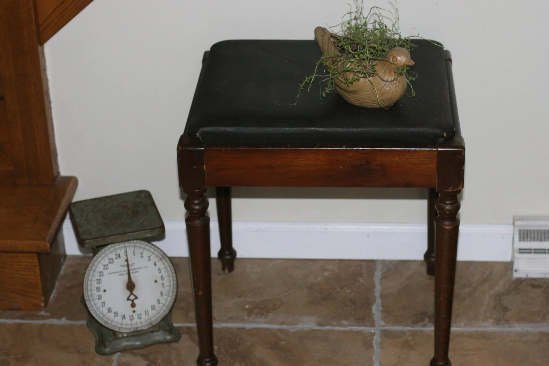 1950s Singer Sewing Stool, Antique Stool, Storage Bench