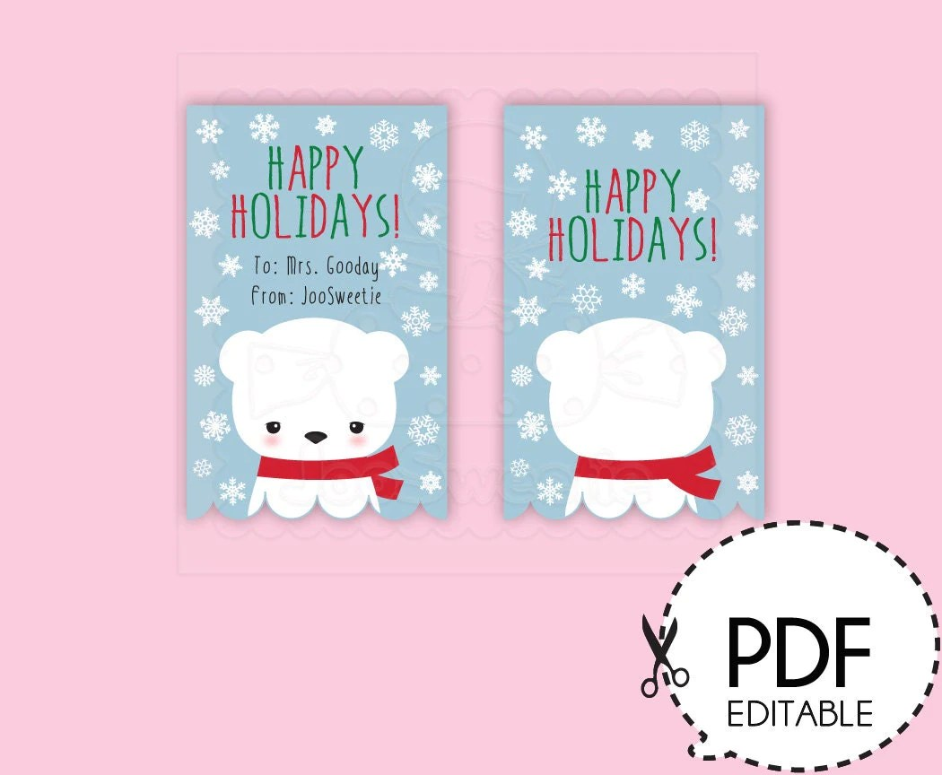 Polar Bear T Bag Topper Labels Printable Donwload
