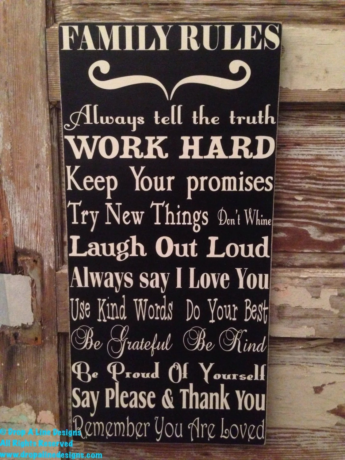 Family Rules Sign 12 X 24 Wood Sign