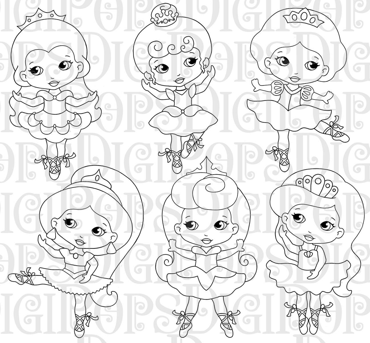 Little Princess Ballerinas Black And White Digital Clip Art