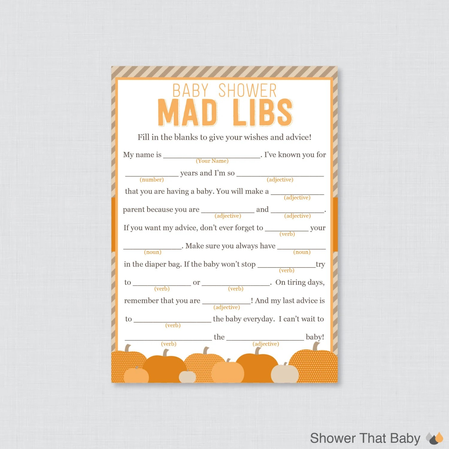 Little Pumpkin Baby Shower Mad Libs Printable Baby Shower