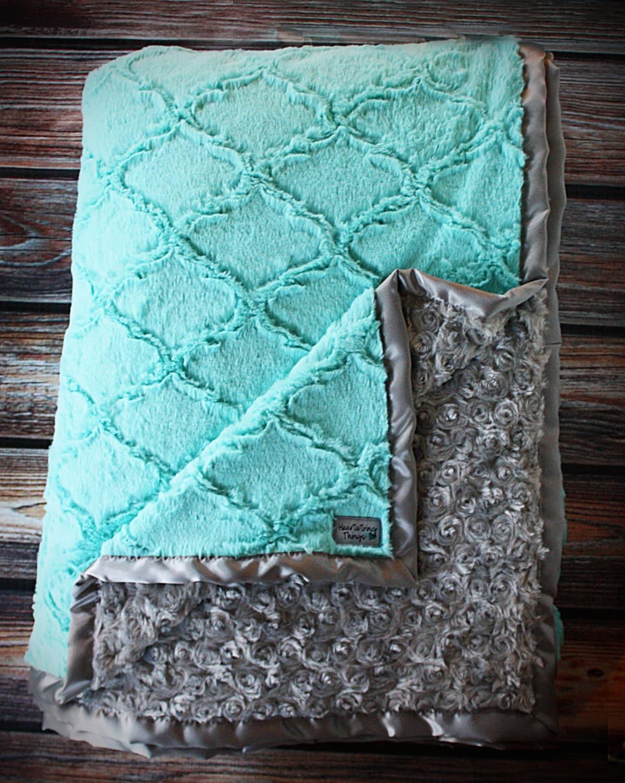 Custom Minky Blanket Pink And Grey Lattice By Ruthieandsage