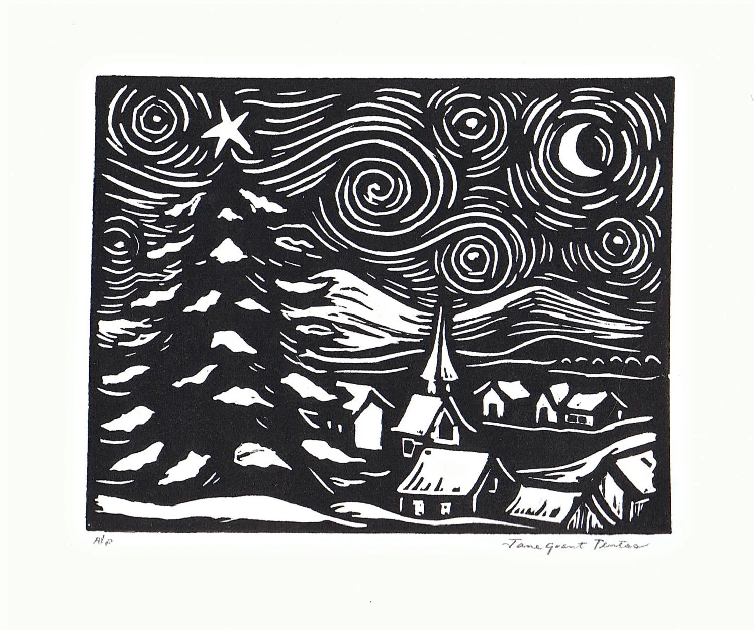 Starry Night Linoleum Block Print