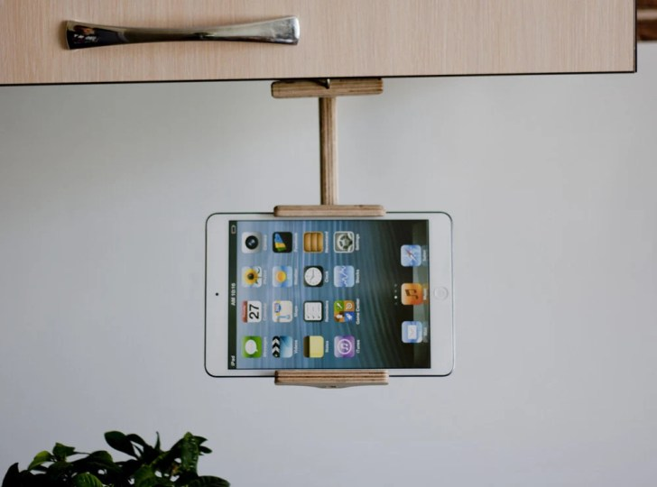 Kitchen Tablet Holder Wood Book Stand Tech Gift Ipad