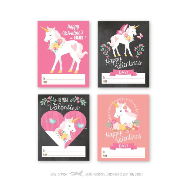 Unicorn Valentines Day Cards printable DIY card by ...