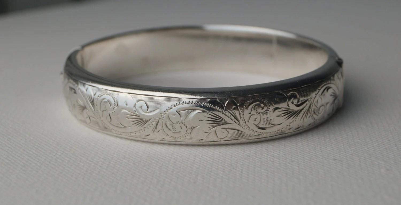 Vintage Sterling Silver Cuff Bracelet Engraved Sterling