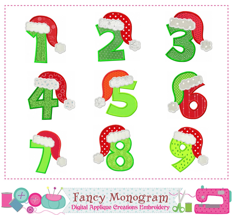 Christmas Number 1 9 Appliquebirthday Numbers Applique Santa