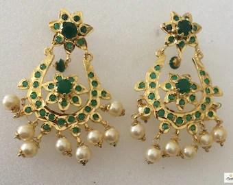 Ria017 Hyderabadi Emerald 9ct Gold Plating Chand Bali