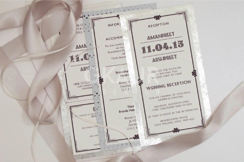 Art Deco Wedding Invitation Perforated Rsvp Envelopes