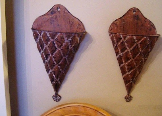 Vintage Hand Painted Metal Wall Hanging Wall Pocket Sconces on Pocket Wall Sconce For Flowers id=99226