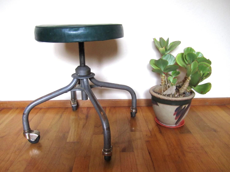 Vintage Industrial Rolling Steelcase Stool Metal Chair