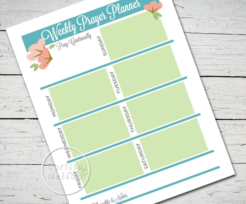 Prayer Planner Worksheet Instant Christian Printable