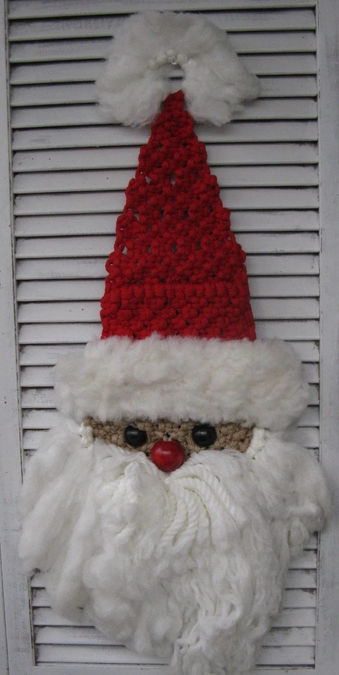 Macrame Santa Wall Door Hanging Larger Size Handmade Christmas