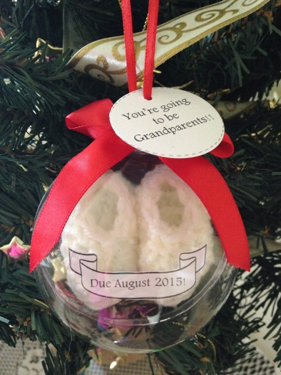 White Baby Booties Pregnancy Announcement Christmas Ornament