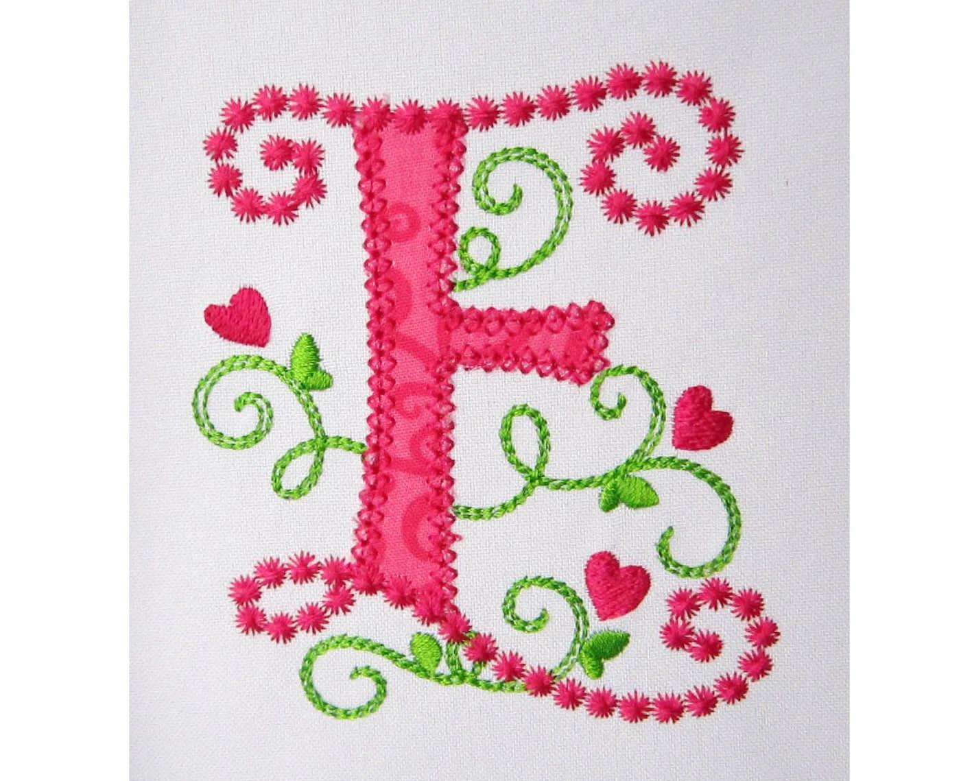 Cute Letter E Alphabet For Lil Princess Hearts Applique