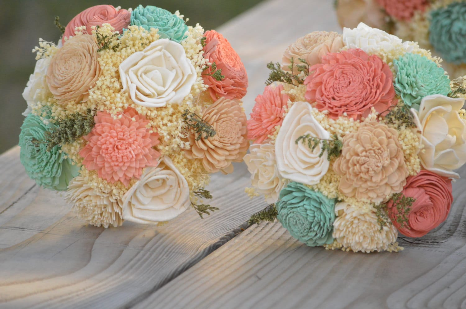 Junior Wedding Bouquet Ivory Mint Coral Pink By