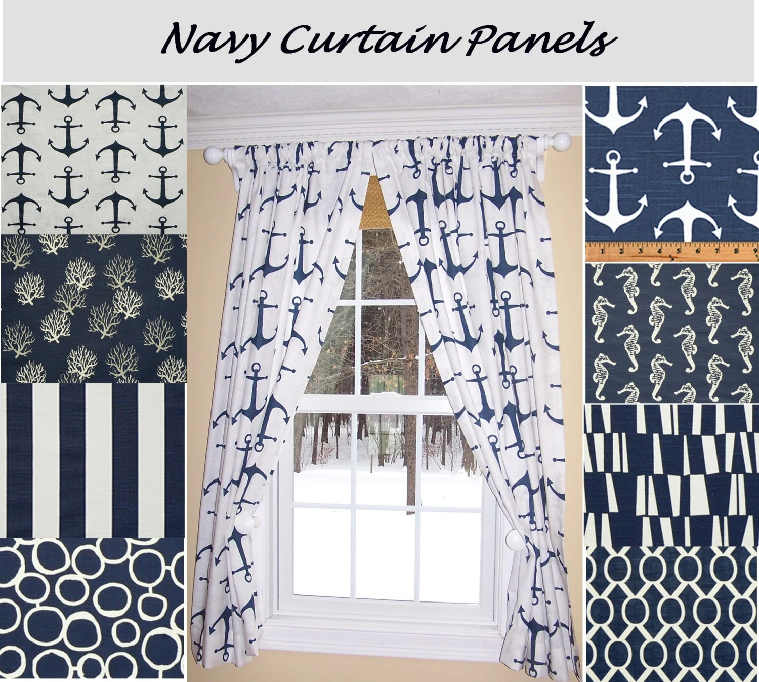 Nautical Curtainsnavy Curtainsblue Curtains Sailing Ocean