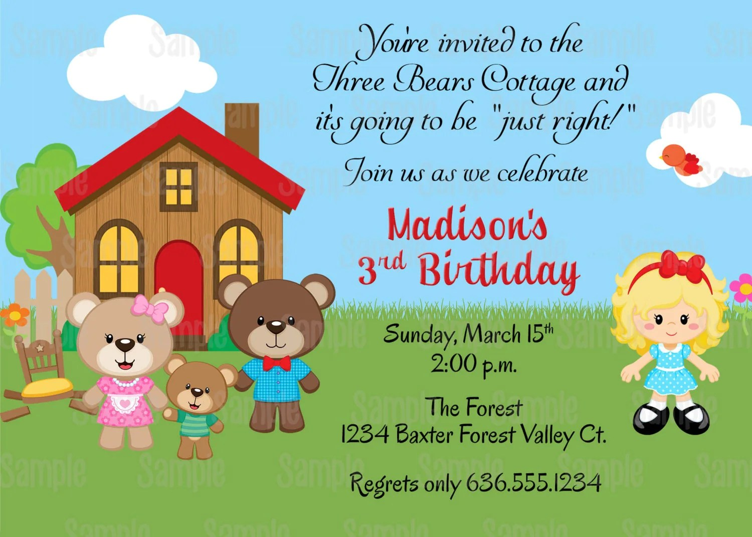 Printable Goldilocks And The Three Bears Baby Shower Or