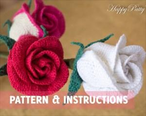 Crochet Rose Pattern Half Open Rose Bowl Shape Crochet
