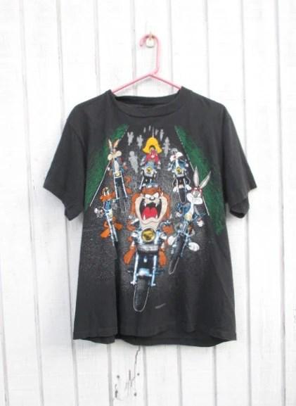Looney Tunes Vintage 90s Taz T Shirt Motorcycle Yosemite