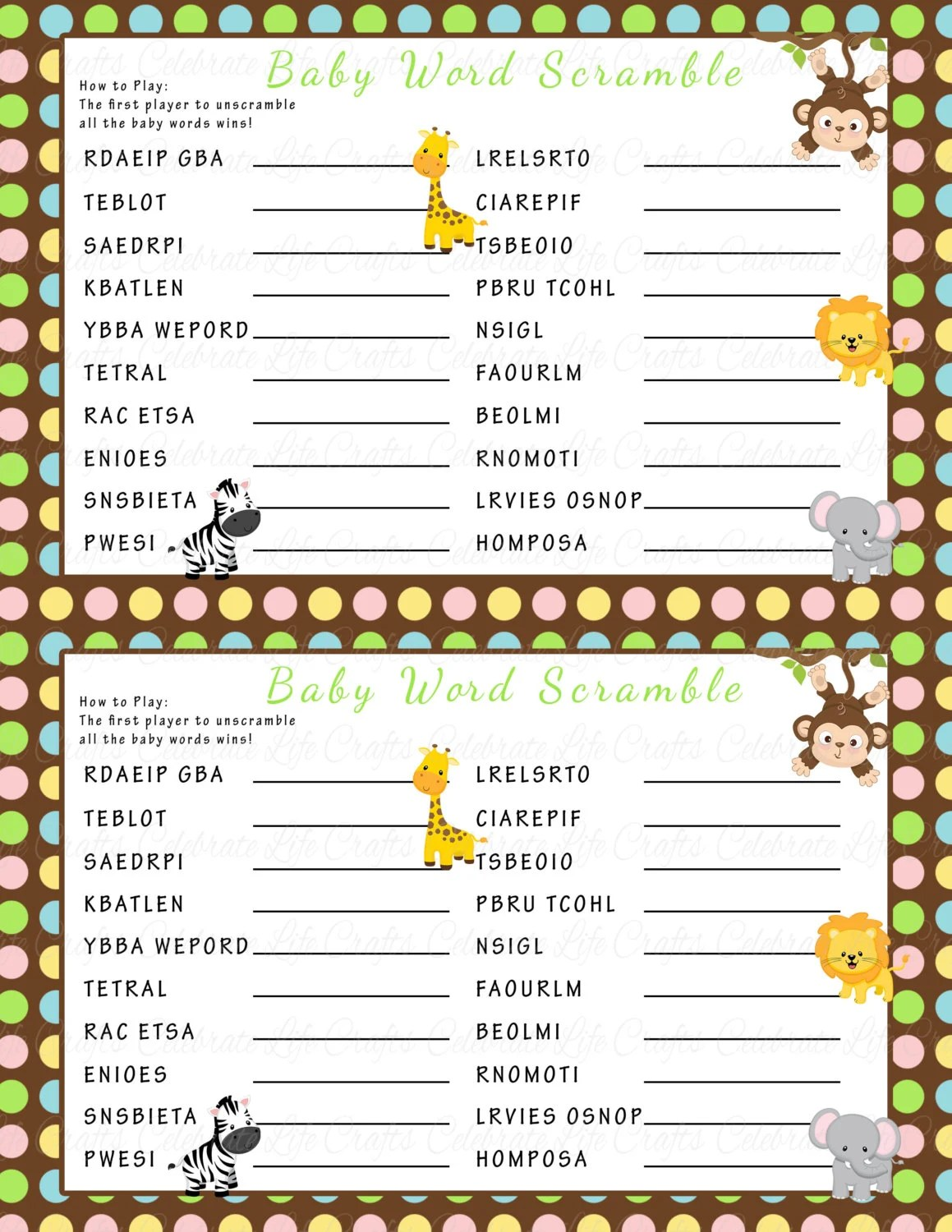 Baby Shower Word Scramble Game Printable Baby Shower Games