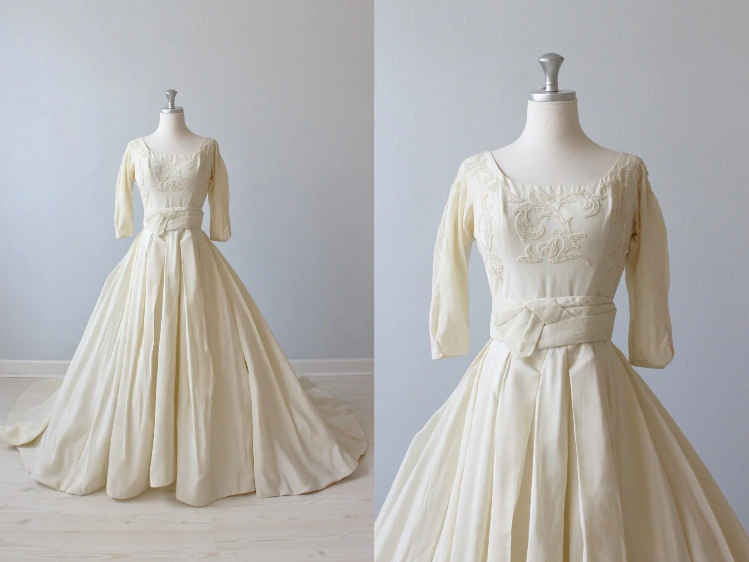 1950s Wedding Dress / Ballroom Wedding Dress By