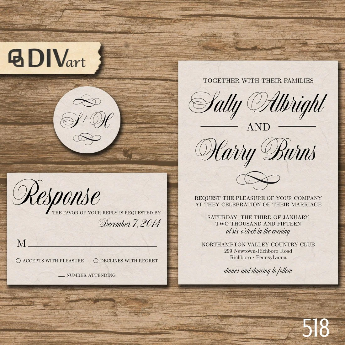 printable diy wedding invitation suite response card
