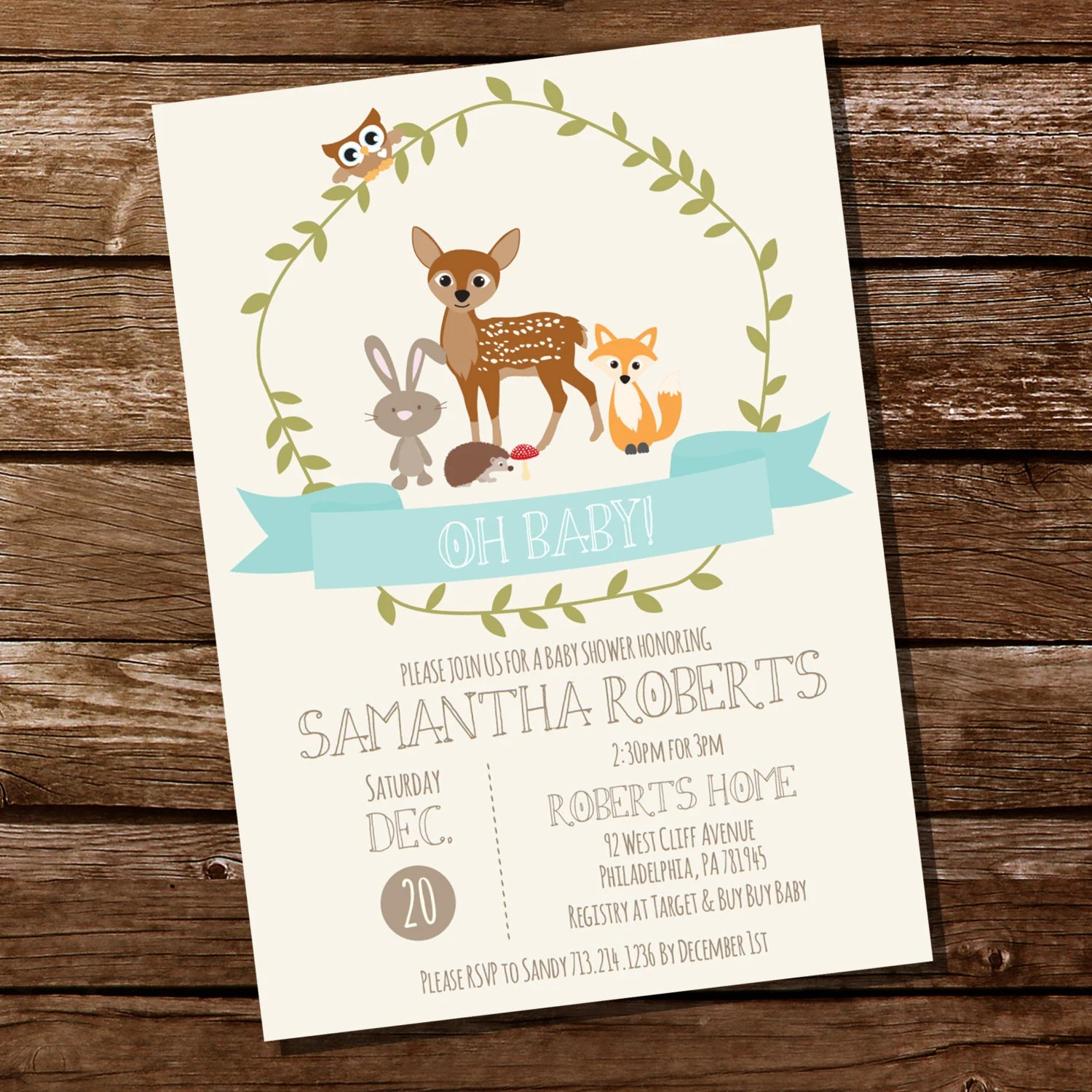Woodland Baby Shower Printable Invitation In Teal Blue Teal