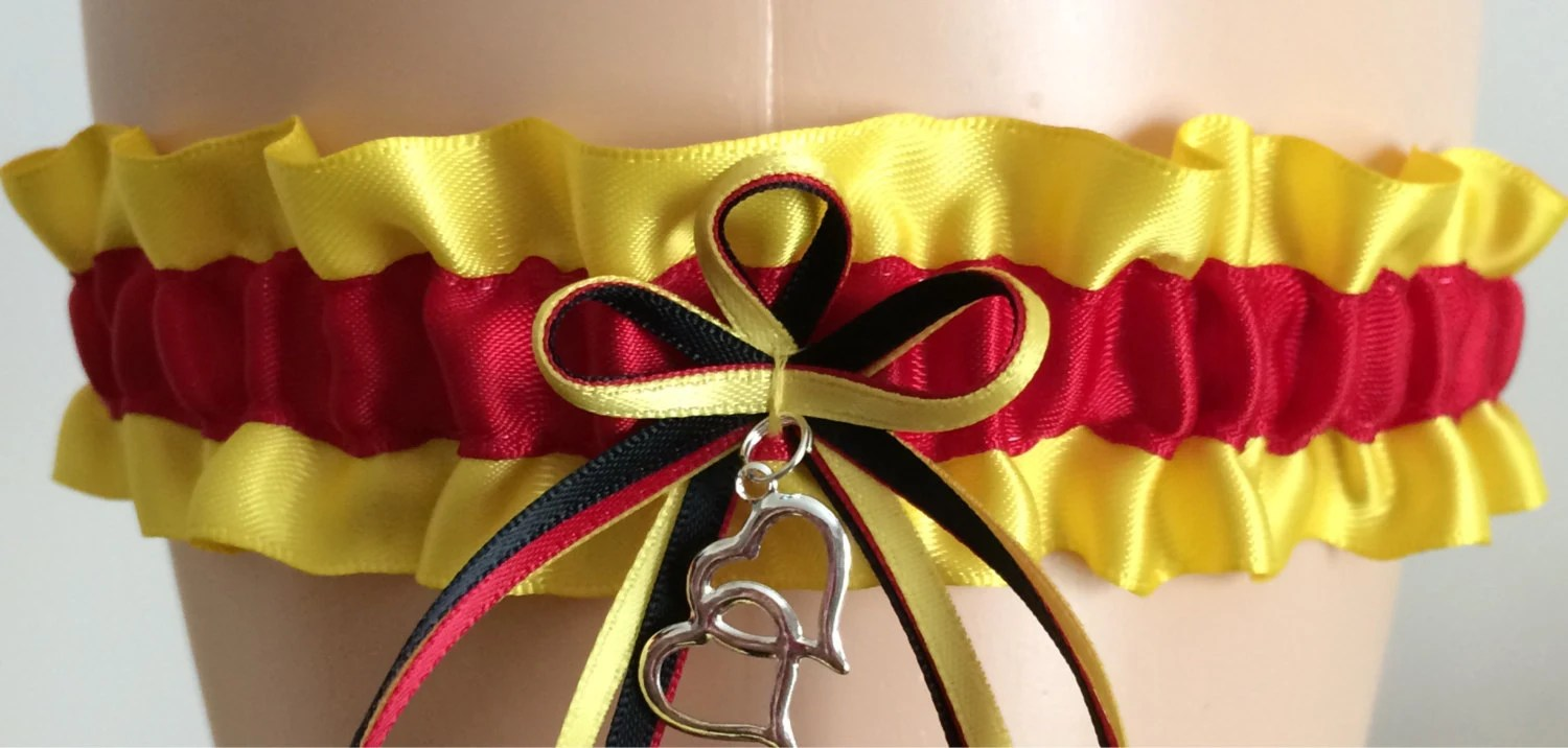 Yellow And Red Wedding Garter Bridal Garter Prom By