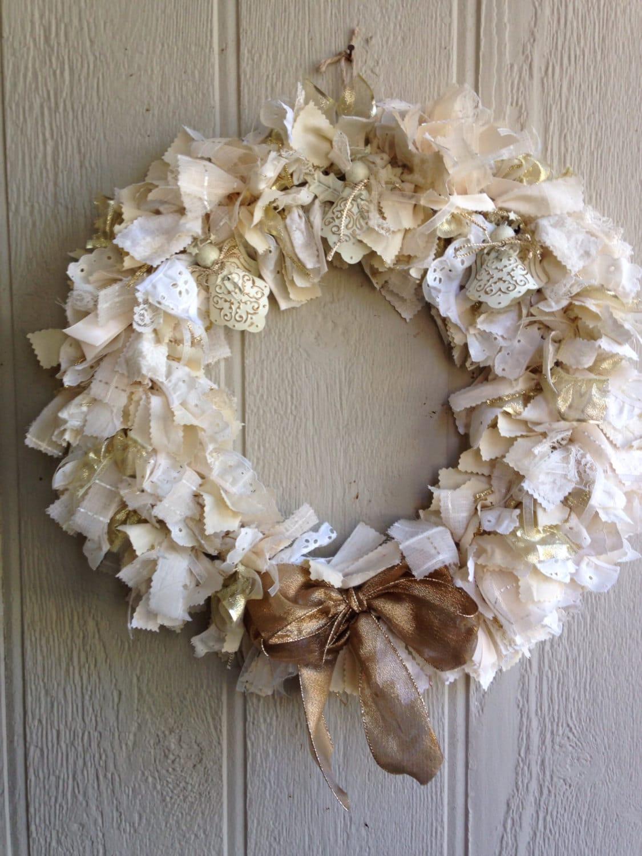Angel Wreath Christmas Rag Wreath Cream And Gold Rag Wreath