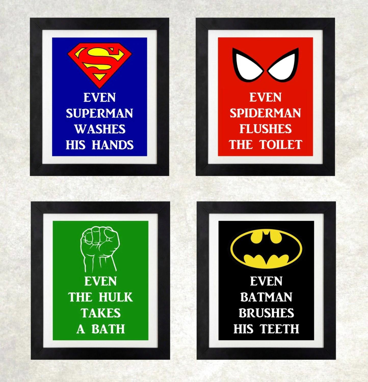 superhero bathroom // boys bathroom wall art // superhero