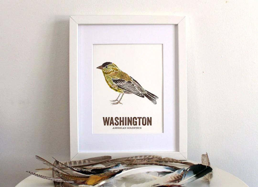 Washington State Bird Nature Art Outdoor Art Vintage Map