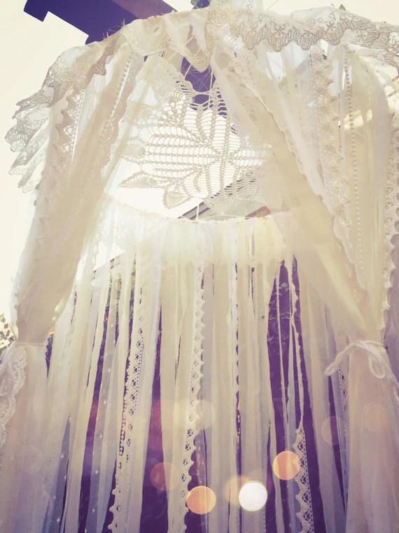Big Shabby Chic Boho White Dreamcatcher Canopy Baby Nursery