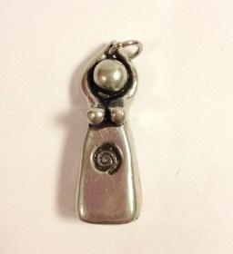 "Pewter Spiral Goddess Priestess ""Initiation"" Pendant, Necklace (original sculpture, hand cast, spiral)"