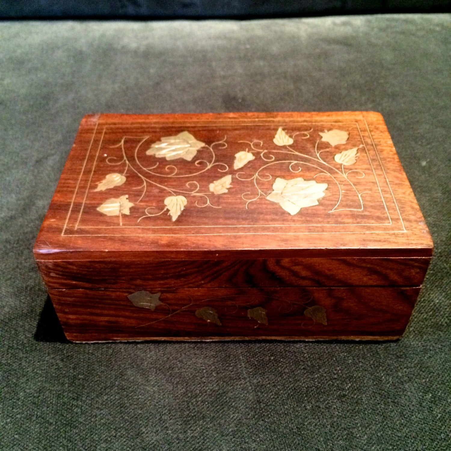 Small Decorative Jewelry Boxes : Wood box brass inlaid design decorative small wooden