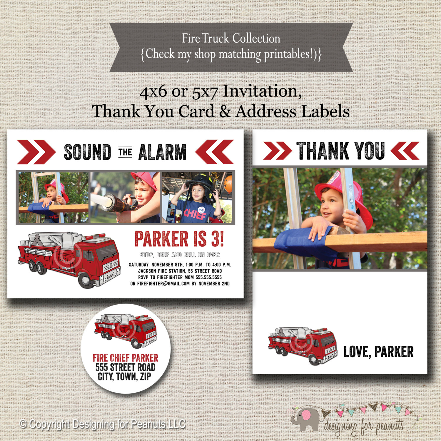 Fire Truck Invitation Thank You Card Return Address Label