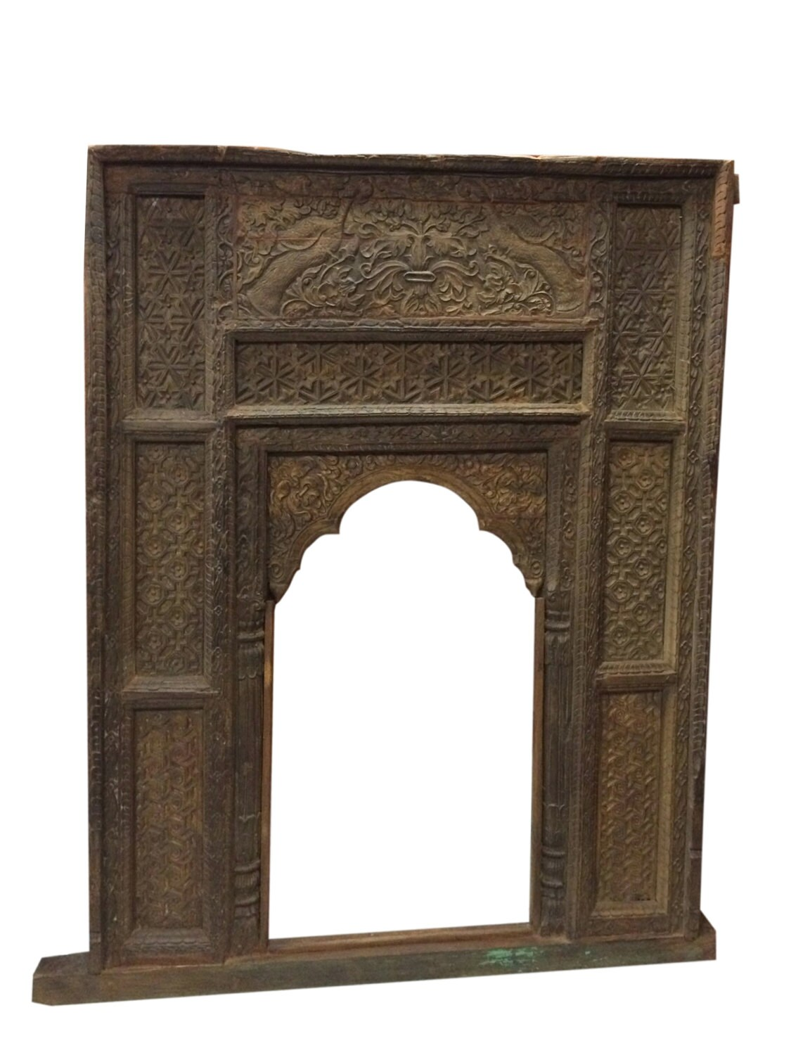 Antique Welcome Gate Arch Frame Teak Wood Pecock Carved Furniture Indian Inspired Haute Juice