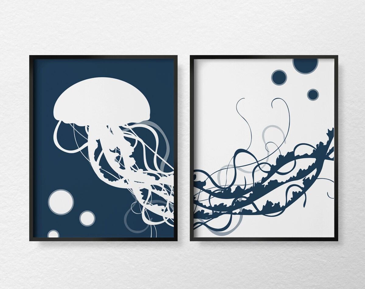 Jellyfish Art Print Jellyfish Print Jellyfish Poster